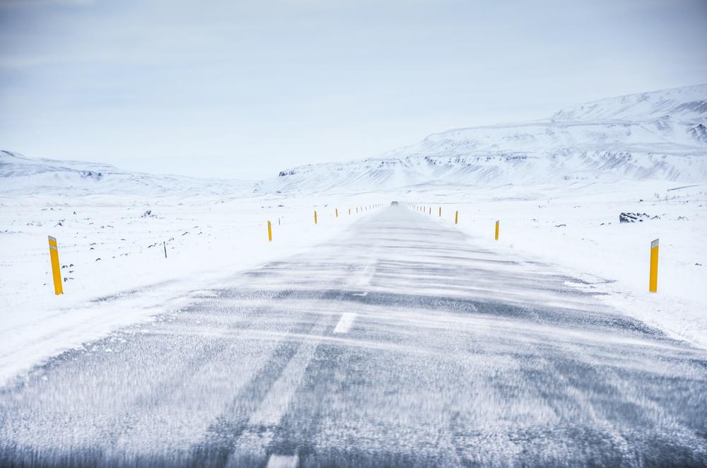 Une route d'hiver en Islande
